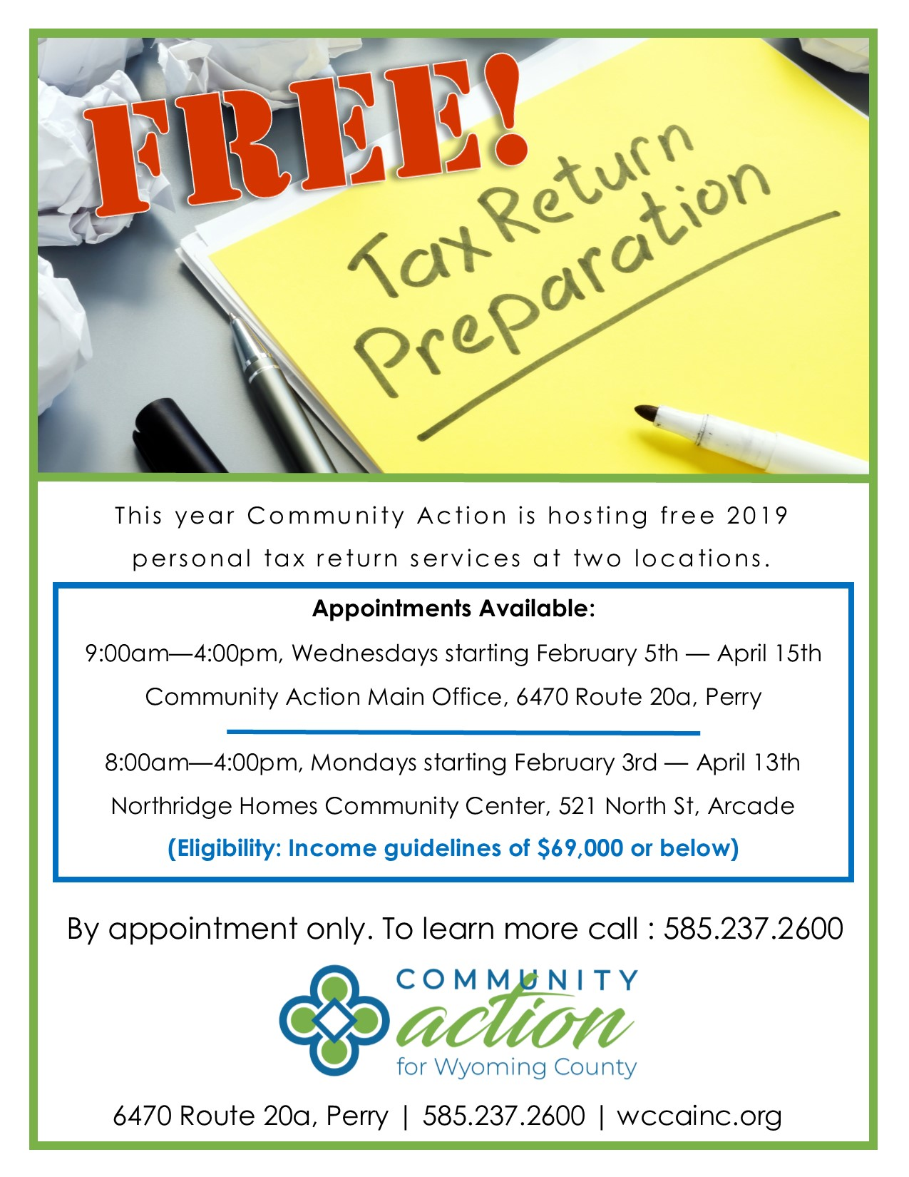Community Action For Wyoming County Wcca To Offer Free Tax Return Preparation Services